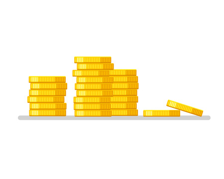 Coins stack. Gold money icon flat design illustration vector. Business concept. Ilustracja