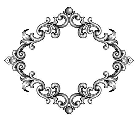 arabesque pattern: Vintage Baroque Victorian frame border monogram floral ornament leaf scroll engraved retro flower pattern decorative design tattoo black and white filigree calligraphic vector heraldic shield swirl