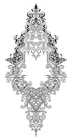 scroll border: Vintage Baroque Victorian frame border monogram floral ornament leaf scroll engraved retro flower pattern decorative design tattoo black and white filigree calligraphic vector heraldic shield swirl