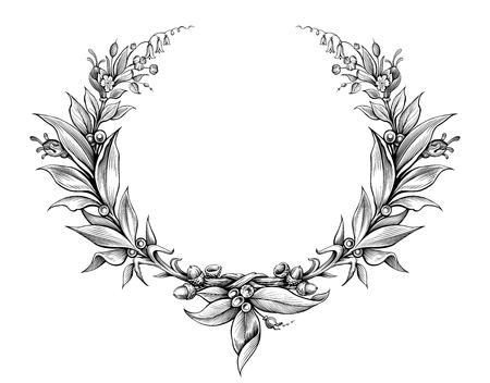 Corona de laurel de la vendimia barroca del monograma de la frontera marco floral escudo heráldico ornamento hoja de la voluta grabado flores retro patrón decorativo diseño del tatuaje blanco y negro del vector