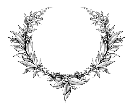 laurel wreath vintage Baroque  frame border monogram floral heraldic shield ornament leaf scroll engraved retro flower pattern decorative design tattoo black and white vector Imagens - 63736309