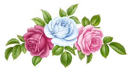 rose: Floral set bouquet bunch of pink, red, blue white vintage rose flowers green  leaves isolated on white background. Digital watercolor illustration.