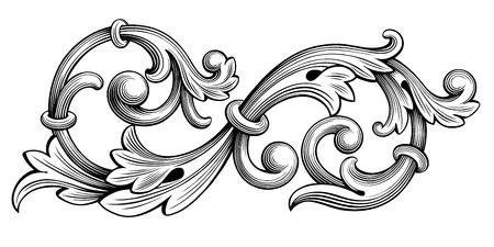 Archiwalne barokowy Victorian ramki granicy monogram kwiatowy ornament liści przewijania wygrawerowany retro kwiatowy wzór ozdobny tatuaż czarno-biały filigran kaligrafii wektor tarczy herbowej wirować Ilustracje wektorowe