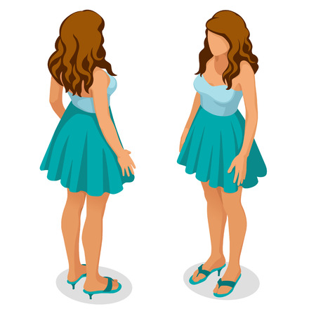Isometric people 3d flat girl with long wavy hair standing in blue summer dress