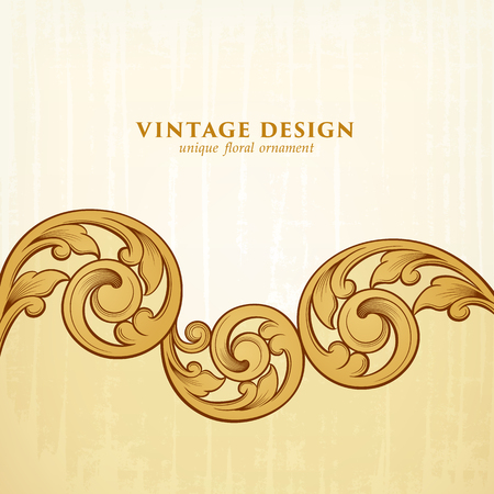 Vintage Baroque Victorian frame border golden floral ornament leaf scroll engraved retro flower pattern decorative design tattoo filigree calligraphic vector heraldic shield swirl monogram