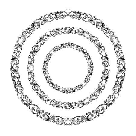 Vintage Baroque Victorian round frame border monogram floral ornament leaf scroll engraved retro flower pattern  design tattoo black, filigree calligraphic vector heraldic shield swirl