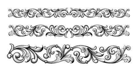 Vintage, baroque, victorien, cadre, frontière, monogramme, floral, ornement, feuille, feuille, gravé, rétro, fleur, motif, décoratif, conception, tatouage, filigrane, caligraphique, vecteur, héraldique, bouclier, tourbillon Vecteurs