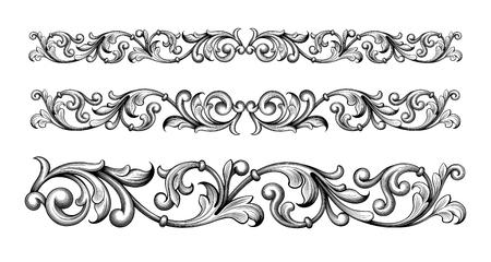 Vintage Barroco Victorian marco marco frontera monograma ornamento floral hoja scroll grabado retro patrón de flor decorativo diseño tatuaje filigrana caligráfico vector heráldico escudo remolino Ilustración de vector