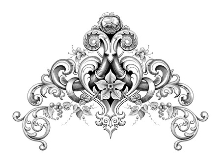 Vintage Baroque Victorian frame border corner monogram floral ornament leaf scroll engraved retro flower pattern decorative design tattoo black and white filigree calligraphic vector heraldic shield