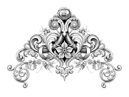 Vintage barocco vittoriano cornice bordo angolo monogramma ornamento floreale foglia scorrimento inciso retrò motivo floreale disegno decorativo tatuaggio bianco e nero filigrana vettore calligrafico scudo araldico Archivio Fotografico - 80631183