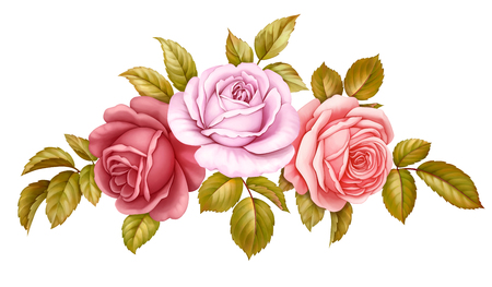 Vector floral set bouquet bunch of pink, red, blue white vintage rose flowers green golden leaves isolated on white background. Stok Fotoğraf - 80835312