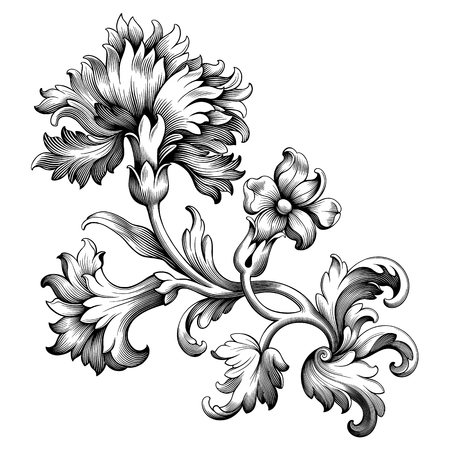 Rose peony carnation flower vintage Baroque Victorian frame border floral ornament leaf scroll engraved retro pattern decorative design tattoo black and white filigree calligraphic vector