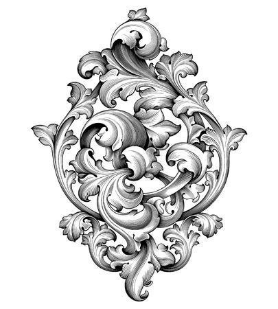 Vintage barokke Victoriaanse frame grens hoek monogram floral ornament blad scroll gegraveerde retro bloem patroon decoratieve ontwerp tattoo zwart-wit filigraan kalligrafische vector heraldische schild
