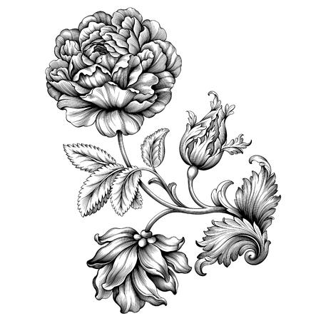 Rosen-Blumenweinlese barocke viktorianische Blumenverzierungsrahmengrenzblattrolle gravierte mit Filigran geschmückte kalligraphische Schwarzweiss-Illustration des dekorativen Entwurfsentwurfs des Retro-Musters Tätowierung.
