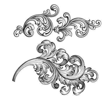 Vintage Baroque Victorian frame border tattoo floral ornament leaf scroll engraved retro flower pattern decorative design tattoo black and white filigree calligraphic vector heraldic swirl set Illustration