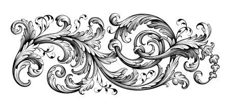 Vintage Baroque Victorian frame border tattoo floral ornament leaf scroll engraved retro flower pattern decorative design tattoo black and white filigree calligraphic vector heraldic swirl Vectores