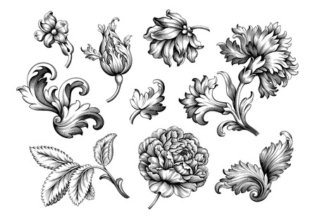 Rose peony carnation flower vintage Baroque Victorian frame border floral ornament leaf scroll engraved retro pattern decorative design tattoo black and white filigree calligraphic vector set