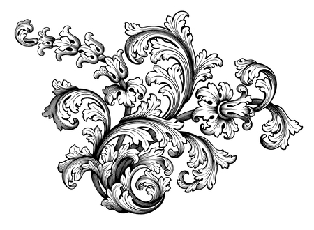 Vintage Baroque Victorian frame border floral ornament leaf scroll engraved retro flower pattern decorative design tattoo black and white Japanese filigree calligraphic vector heraldic swirl Stok Fotoğraf - 102901043