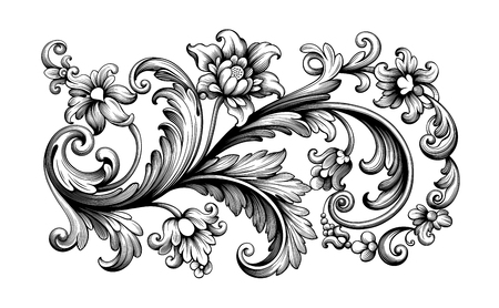 Flower vintage scroll Baroque Victorian frame border rose peony floral ornament leaf engraved retro pattern decorative design tattoo black and white filigree calligraphic vector Banque d'images - 111335355