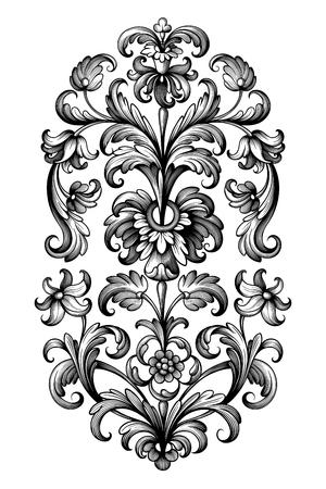 Fiore dell'annata scorrimento barocco vittoriano telaio confine giglio peonia ornamento floreale foglia inciso modello retrò disegno decorativo tatuaggio filigrana bianco e nero vettore calligrafico Vettoriali