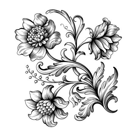 Fleur vintage défilement baroque cadre victorien frontière rose pivoine ornement floral feuille gravé motif rétro design décoratif tatouage noir et blanc en filigrane vecteur calligraphique