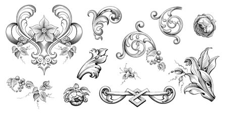 Vintage Baroque Victorian frame border floral ornament leaf scroll engraved retro flower pattern decorative design tattoo black and white Japanese filigree calligraphic vector heraldic swirl Illusztráció