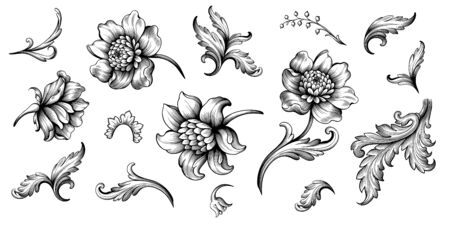 Flower vintage scroll Baroque Victorian frame border rose peony floral ornament leaf engraved retro pattern decorative design tattoo black and white filigree calligraphic vector