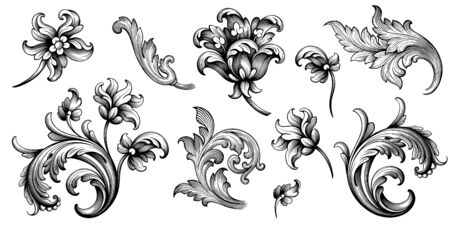 Flower vintage scroll Baroque Victorian frame border rose peony floral ornament leaf engraved retro pattern decorative design tattoo black and white filigree calligraphic vector Stok Fotoğraf - 137351726