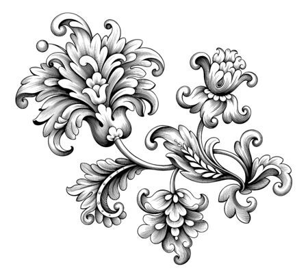 Baroque vintage floral ornament of rose peony carnation tulip flowers. Black and white Victorian frame border swirl. Engraved leaf scroll vector retro pattern. Filigree design of decorative tattoo Illusztráció