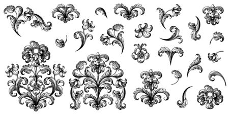 Vintage Baroque Victorian frame border floral ornament leaf scroll engraved retro flower pattern decorative design tattoo black and white Japanese filigree calligraphic vector heraldic swirl Stok Fotoğraf - 141828664