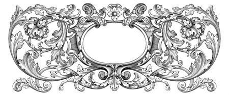 Vintage Baroque floral frame border Victorian flower ornament scroll engraved heraldic shield retro pattern decorative design tattoo black and white filigree calligraphic vector swirl leaf monogram