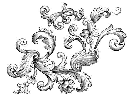 Vintage Baroque floral frame border Victorian flower ornament scroll engraved retro pattern decorative design tattoo black and white filigree calligraphic vector heraldic shield swirl leaf monogram Stok Fotoğraf - 153445050