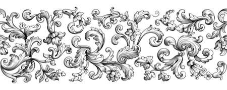 Vintage Baroque floral seamless pattern frame border Victorian flower ornament scroll engraved retro decorative design tattoo black and white filigree calligraphic vector heraldic shield swirl leaf Illusztráció