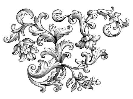 Vintage Baroque floral frame border Victorian flower ornament scroll engraved retro pattern decorative design tattoo black and white filigree calligraphic vector heraldic shield swirl leaf monogram
