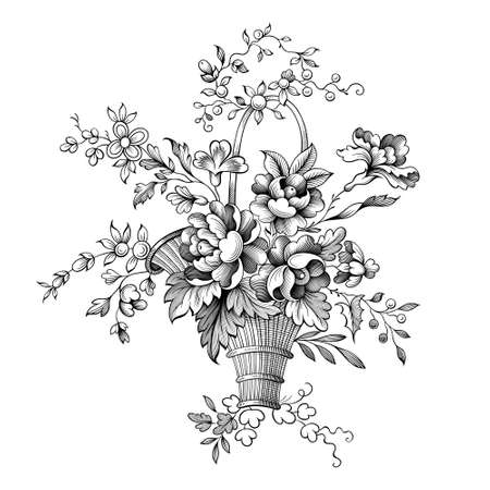 Rose peony flowers bouquet Baroque Victorian vintage basket botanical illustration engraved garden floral ornament frame border scroll bunch retro decorative tattoo black and white filigree vector