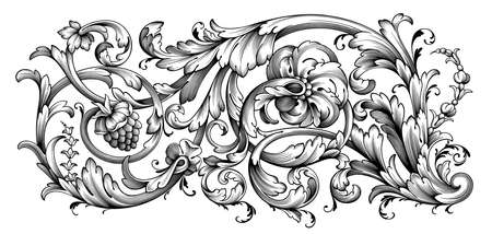 Vintage Baroque floral frame border Victorian flower ornament scroll engraved retro pattern decorative design tattoo black and white filigree calligraphic vector heraldic shield swirl leaf monogram Ilustração Vetorial