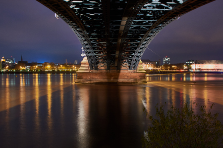Under the Theodor Heuss Bridge at night in Mainz with a view of the castle Stock Photo