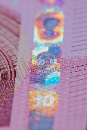Hologram on a 10 Euro bill in portrait format