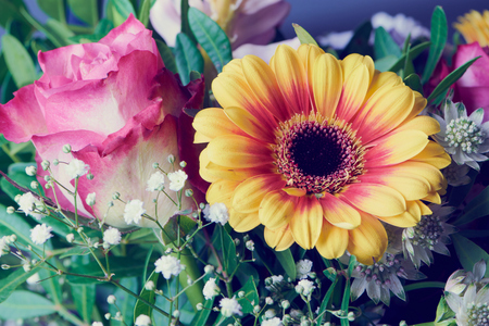 Detail of a colorful bouquet with rose and gerbera