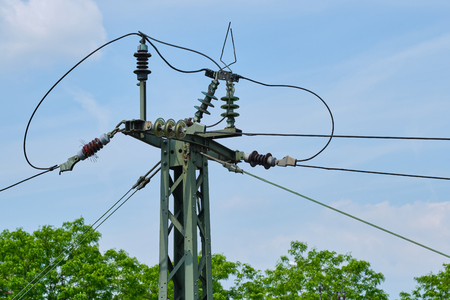 close up of a catenary mast at a German station