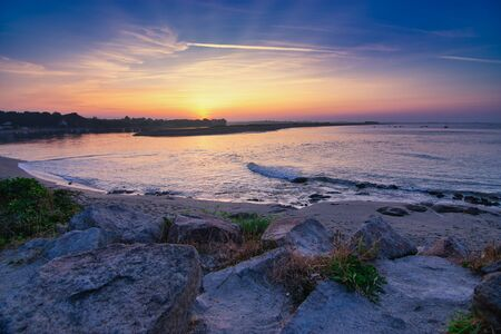 sunrise over the lagoon of Benodet in Brittany, France