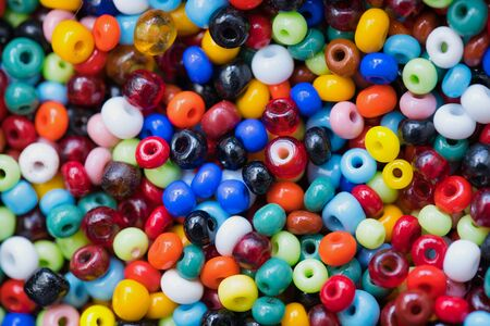 macro of a lot of colored plastic beads as picture background Stok Fotoğraf