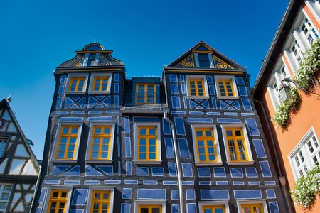 Crooked house beside the town hall in the old town Idstein, Hesse, Germany Stock Photo - 130132631