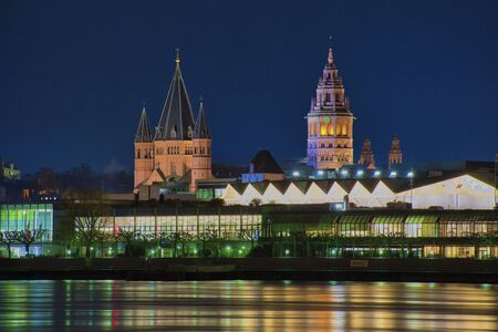 night cityscape of Mainz city with the St. Martins Dom, the landmark of Mainz