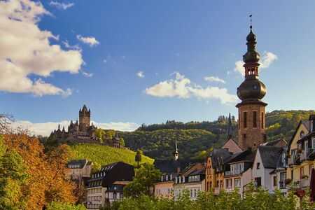 view to the church St. Martin and the so called Reichsburg, the landmark of Cochem in Germany