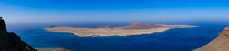 Graciosa island panorama from Mirador del rio in Lanzarote, Canary islands, Spain.