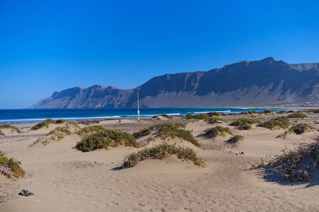 famous Famara surfer beach in Lanzarote, Canary Islands