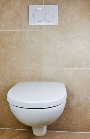 wall-mounted white toilet against brown tiles in a private bathroom