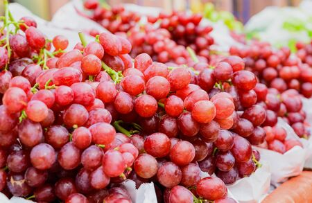 red grape bunches on a German market