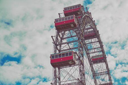Ferris wheel in the Prater, amusement park, Prater, Vienna, Austria, color vintage style